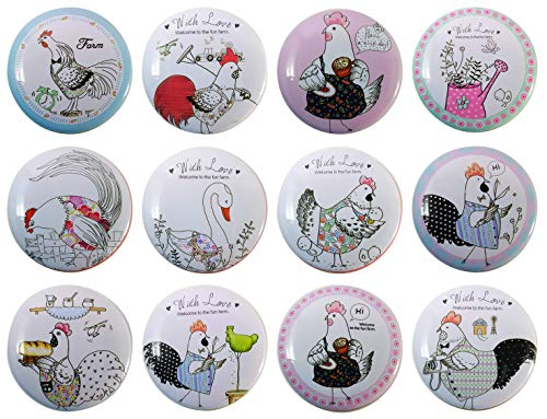 The Tin Man Company 12 Pack Collectibles Flat Round Tin Containers | Adorable Winner Winner Chicken Dinner Theme | Perfect to incorporate Memorable Wedding & Party Favors | Great 4 Stocking Stuffer