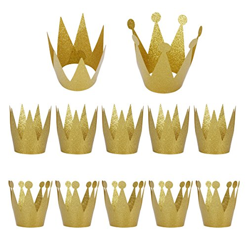 LeeSky Birthday Party Hats,12 Pack Gold Birthday Crown Hats,Kids and Adult Party Hats,Party Decorations Crowns Supplies