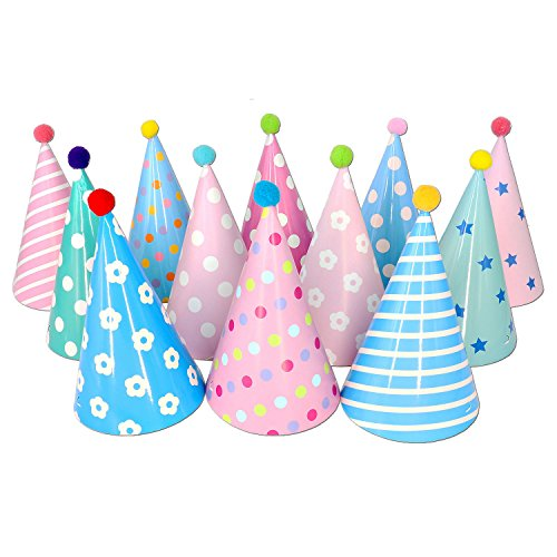 Beurio Kids Happy Birthday Paper Party Cone Hats with Pom Poms, 12ct (Toddler Hat Party)