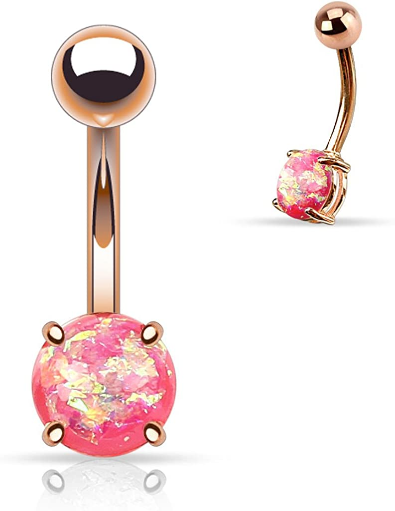FIFTH CUE 14G Opal Glitter Prong Set Rose Gold IP Over 316L Surgical Steel Belly Button Rings