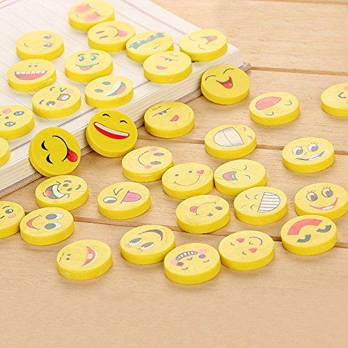 CALISTOUK 4pcs divertente sorriso faccia matita gomma Eraserstudents cancelleria regalo giocattolo