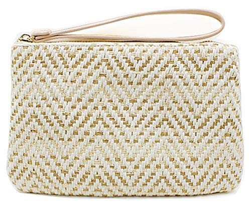 Hycurey Straw Zipper Clutch Bag Bohemian Wristlet Womens Summer Beach Sea Purse and Handbag ()
