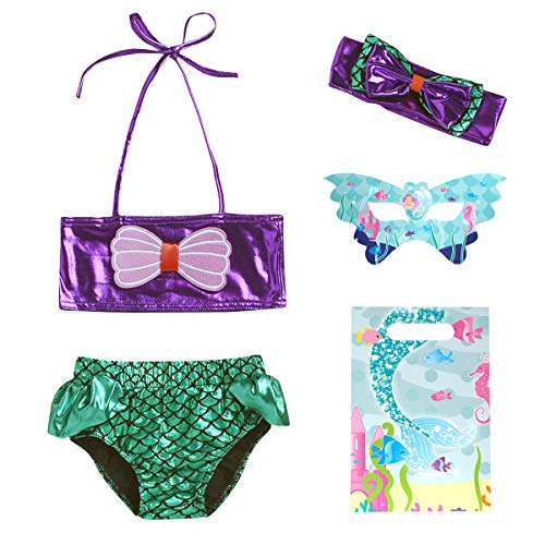 JFEELE Toddler Mermaid Swimsuit for Baby Girls 2 Piece Bikini Swimming Set with Mermaid Headband,Eye Masks and Gift Bag - Purple, 6M-12M -