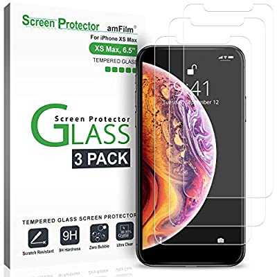 iPhone XS Max Screen Protector Glass (3-Pack), amFilm iPhone XS Max 6.5 Tempered Glass Screen Protector with Easy Installation Tray for Apple iPhone XS Max (2018)
