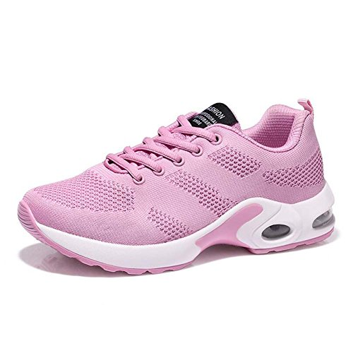 SHINIK Zapatos atléticos casuales de las mujeres Plataforma transpirable Zapatos deportivos Nuevo verano Zapatos de oscilación de malla Rosado