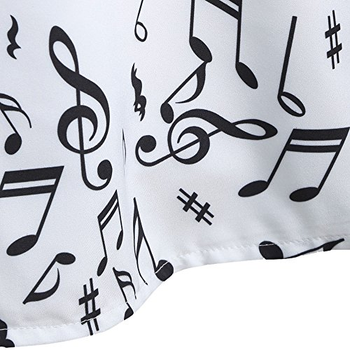 Sleeveless Belt With Notes Dress White Women's Party CharMma Musical Print Vintage wT1ESH