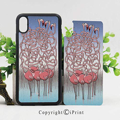 - iPhone X Case Slim Fit, Five Cute Flamingos Maze Game Joyful Animal Cartoon Reed Bed Water Shockproof Impact Resistant Drop Protection Protective TPU,Coral Violet Blue Light Blue