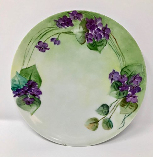 "Antique Sevres Bavaria Thomas Wild Violets Hand Painted Decorative Plate 8.5"" Collectible-Vintage-not for food service"