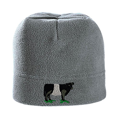Speedy Pros Belted Galloway Embroidered Unisex Adult Polyester/Spandex Stretch Fleece Beanie Winter Hat - Light Grey, One Size ()