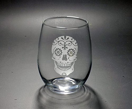 Sugar Skull Stemless Wine Glass