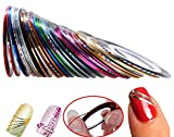 Hosaire 30Pcs Mixed Colors Rolls Striping Tape Line DIY Nail Art Tips Decoration Sticker