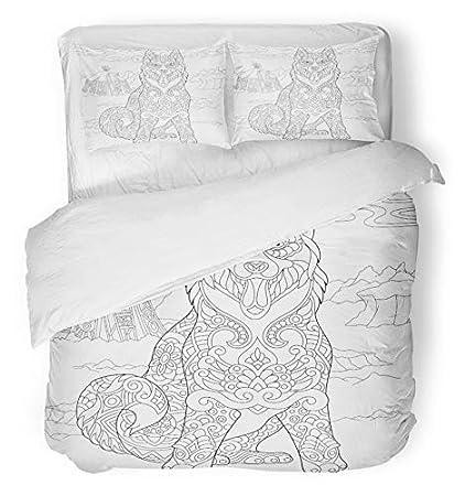 Emvency 3 Piece Duvet Cover Set Brushed Microfiber Fabric Breathable  Alaskan Malamute Siberian Husky Eskimo Dog 6193390d5