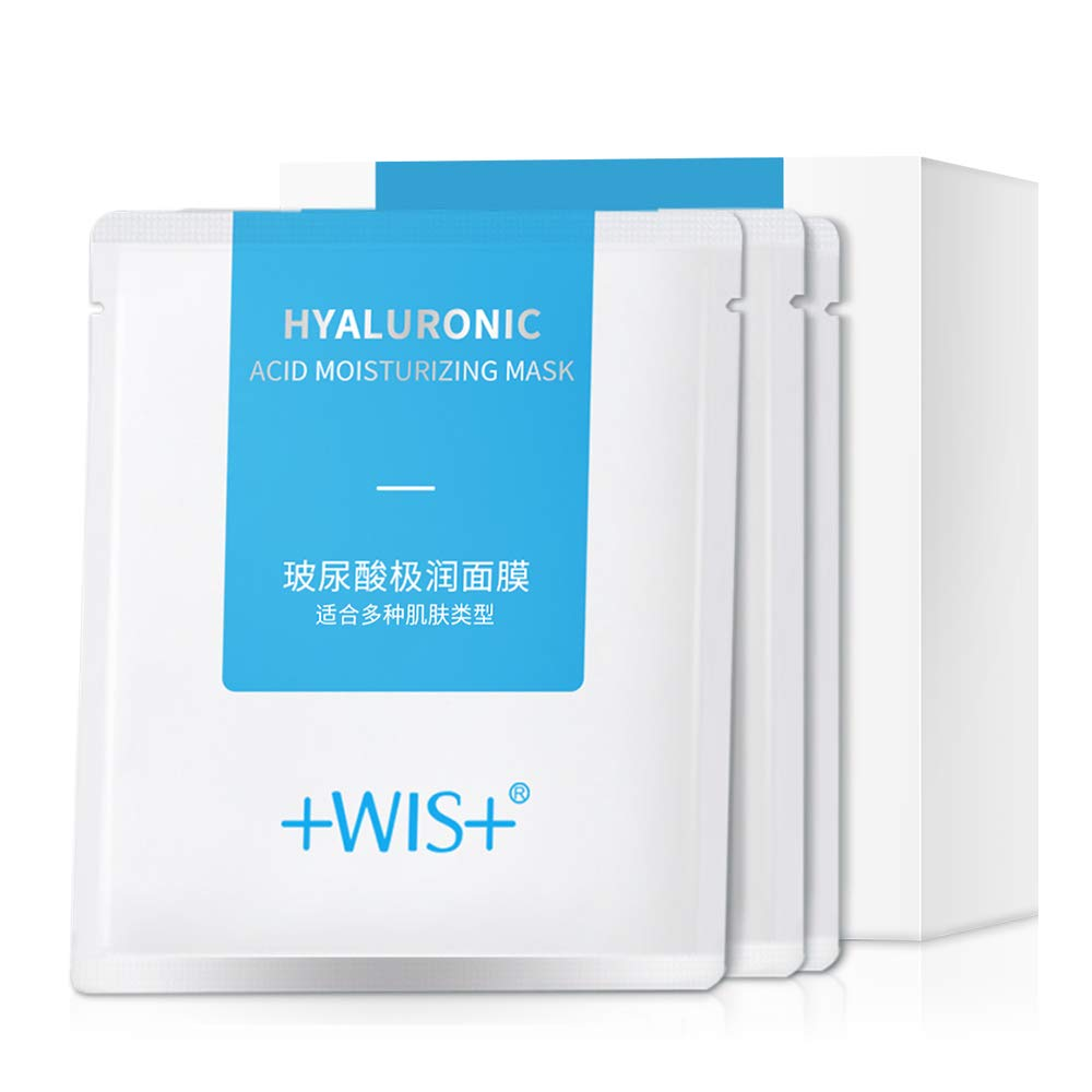 WIS Hyaluronic Acid Essence Full Face Facial Mask Sheet,Deep Hydrating Anti-Aging Serum Moisturizing Face Mask for Dull Dry Skin Care,Anti-Wrinkle & Fine Lines,24 Combo Pack