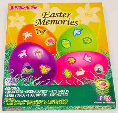 - PAAS Easter Memories Easter Egg Coloring Kits (Set of 2 = 100 stickers, 12 Eggarounds, 8 Dye Tablets, 8 Egg Stands, 2 Egg Dipper, 2 DryingTrays
