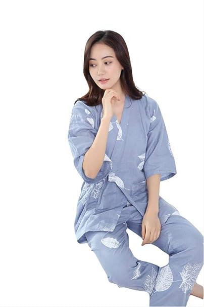 YTFOPLK Pijamas De Mujer De Hoja De Arce Simple Conjuntos Kimono Gasa Algodón Kimono Japonés Transpirable