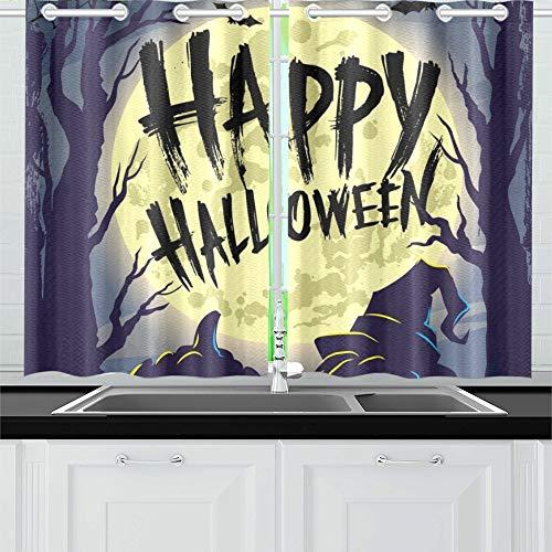 ENEVOTX Happy Halloween Symbols Pumpkin Kitchen Curtains Window