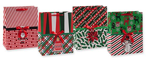Large Retro Christmas Gift Bag Set of 4 with Diecut Gift Tag