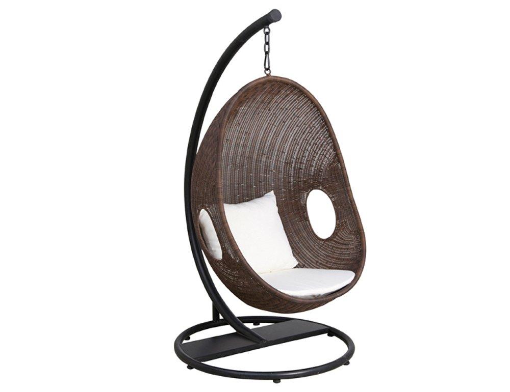 Siena Garden 672978 Hängekorb Riverside Stahl-Gestell schwarz Gardino®-Geflecht braun inkl. Kissen beige
