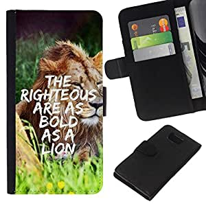 All Phone Most Case / Oferta Especial Cáscara Funda de cuero Monedero Cubierta de proteccion Caso / Wallet Case for Samsung ALPHA G850 // BIBLE Proverb 28:1 - The Righteous Are As Bold As A Lion