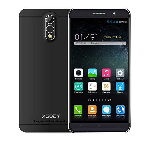 Xgody Y20 6 Inch 2G/3G Smartphone Unlocked 1GB+8GB Android 5.1 Cell Phone Unlocked MTK6580M Quad Core Dual SIM Dual Camera (Black)