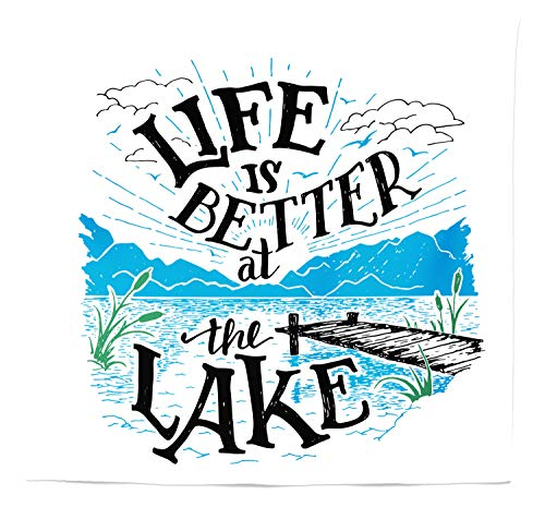 Lunarable Adirondack Tapestry Queen Size, Lakeside Cabin Themed Life is Better at The Lake Quote, Wall Hanging Bedspread Bed Cover Wall Decor, 88 W X 88 L Inches, Dark Taupe Jade Green Azure Blue
