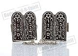 Ten Commandments Silver Plated Israel Tallit Clips Israel Prayer Shawl Jewelry Gift