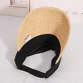 CGXBZA Raffia Visor Caps Women Casual Travel Summer Sun Empty Top Straw Beach Hat with Ribbon Bow Wide Brim Female Sunhat