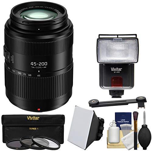 Panasonic Lumix G Vario 45-200mm f/4-5.6 II Power OIS Zoom Lens with 3 Filters + Flash & 2 Diffusers + Kit (45 Panasonic 200)