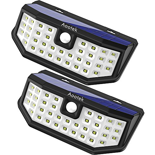 Aootek Solar outdoor motion sensor lights upgraded Solar Panel to 15.3 in and 3 modes (Security/ Permanent On all night/ Smart brightness control )  with IP65 Waterproof with Wide Angle.(2 pack)