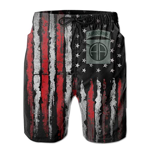 US Army - 82nd Airborne Division SSI Men's Quick Dry Swim Trunks Beach Shorts White