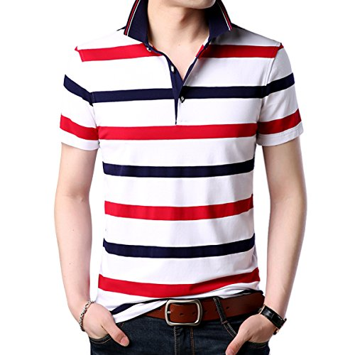 YFFUSHI メンズ ポロシャツ ストライプ 半袖 無地 全11柄 S-3XL 綿 ゴルフウェア poloシャツ tシャツ スポーツウェア