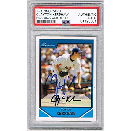 Clayton Kershaw Los Angeles Dodgers Autographed 2007 Bowman Signed Baseball Rookie Card RC PSA DNA COA ()