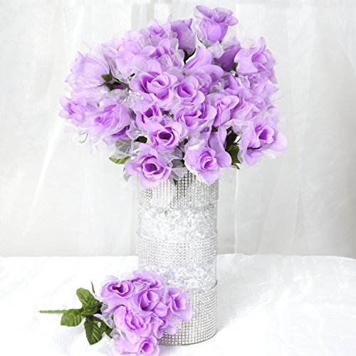 Efavormart 252 Organza Rose Artificial Buds for DIY Wedding Bouquets Centerpieces Home Decorations Wholesale Supplies - Lavender