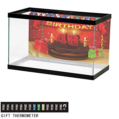 bybyhome Fish Tank Backdrop 48th Birthday,Present Cake Candle,Aquarium Background,48