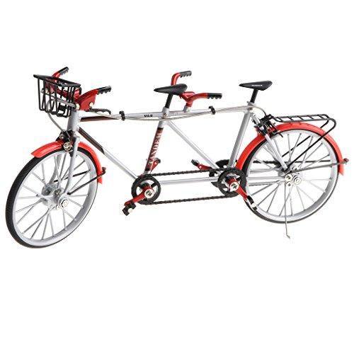 Tandem Bike Racing - MagiDeal 1:10 Alloy Tandem Bike Diecase Model Figure Showcase Display Collection Toy Desktop Ornament Red
