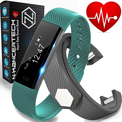 Fitness Tracker with Heart Rate Monitor - Smart Watch Pedometer Wristband - iPhone IOS and Android Bluetooth Compatible – Green & Bonus Black Band - Water Resistant HR Walk Sports Sleep - N-HancerTe...