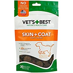 Vet's Best Skin & Coat Soft Chew Dog Supplements | Formulated with Vitamin E & Biotin To Maintain Dogs Healthy Skin & Coat | 30 Day Supply