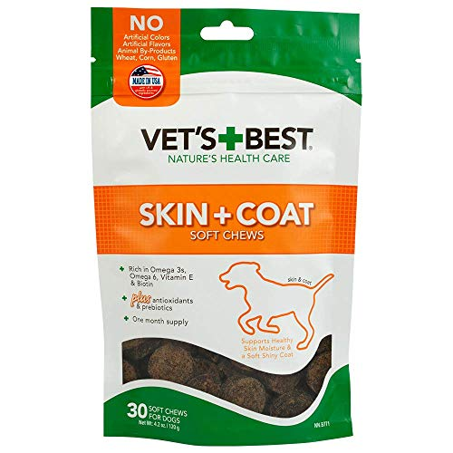 (Vet's Best Skin & Coat Soft Chew Dog Supplements | Formulated with Vitamin E and Biotin to Maintain Dogs Healthy Skin and Coat | 30 Day Supply)