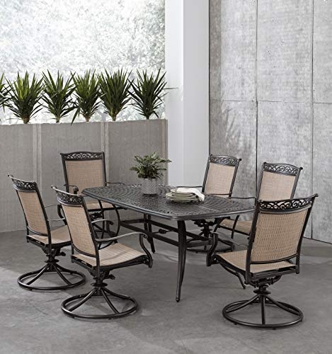 Hanover Fontana 7-Piece Dining Set with 6 Sling Swivel Rockers and a 38-in. x 72-in. Cast-Top Table, FNTDN7PCSWC Outdoor Furniture, Tan (Aluminum Cast Patio Sling Furniture)