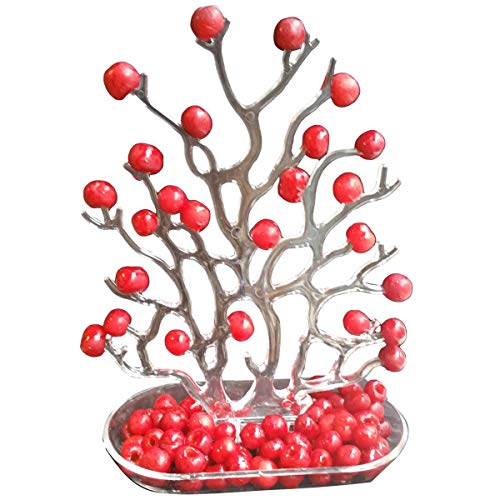 NewFerU Plastic Tabletop Party Food Tower Vintage Coral Storage Decoration Display Organizer for Pitted Cherry Fruit Hanging Jewelry Hook Rack Hanger Holder Stand for Necklace Earring Watch (Tree)
