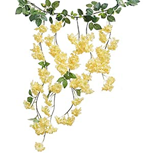 Ling's moment Artificial Flowers Garland Fake Cherry Blossmons Haning Vine for Wedding Arch Floral Decor 24