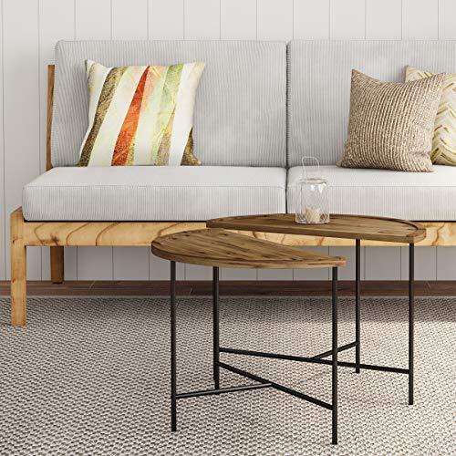 Lavish Home 80-FT-12 Half Moon Coffee Tables- Set of 2, Black (Half Coffee Table Circle)