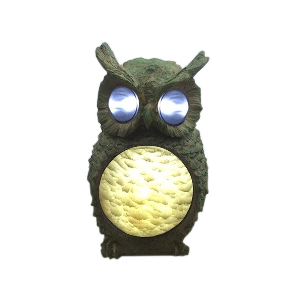 Solar Powered Owl Solar Resin Light Lamp Temperature 6000-7000k 4 LED Resin Garden Lighting Decoration Ksruee