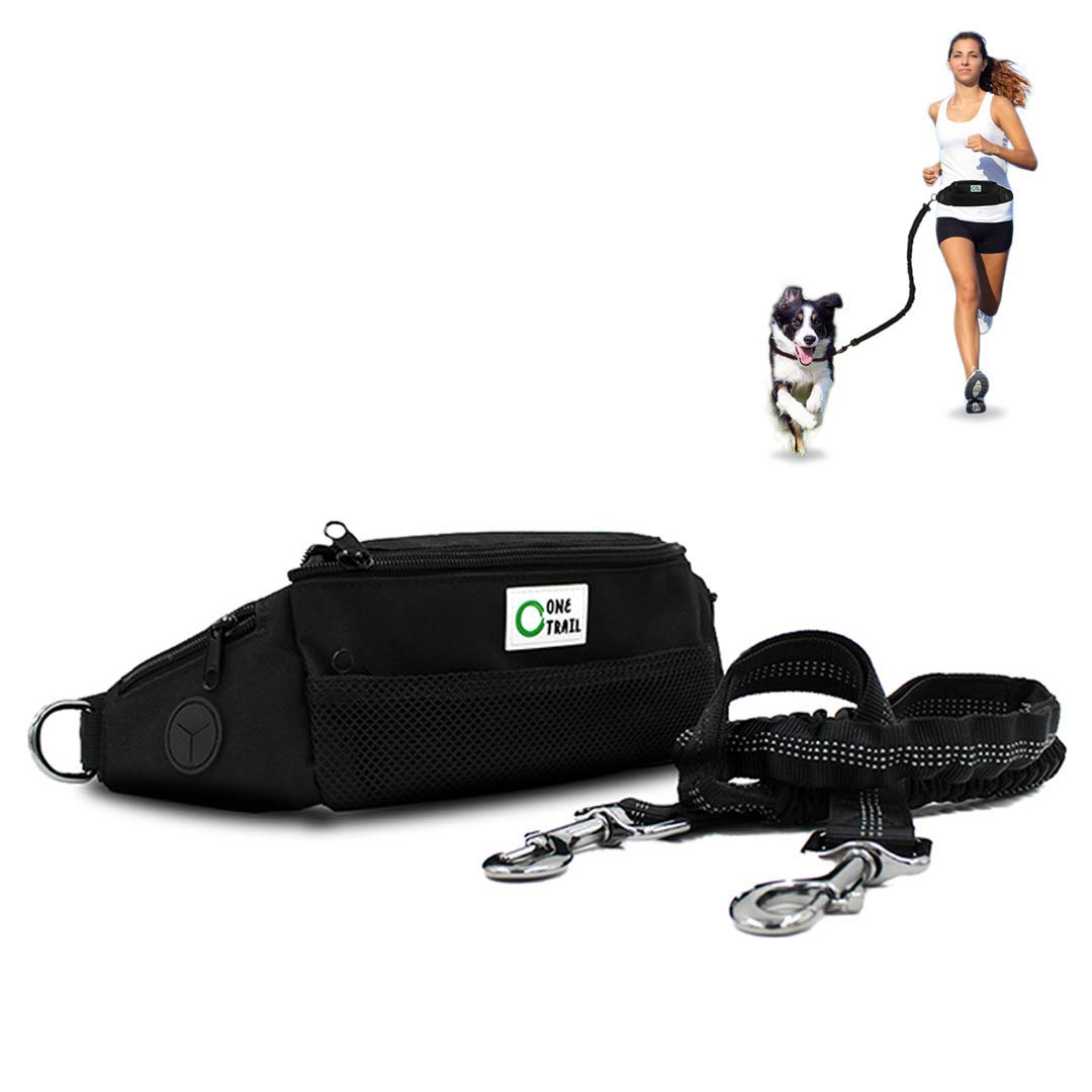 OneTrail Hands Free Dog Leash (Black)   Bungee Leash   Unisex   Fits up to 50'' Waist   Machine Washable by OneTrail Gear