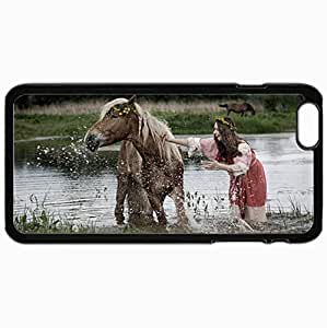 Personalized Protective Hardshell Back Hardcover For iPhone 6 Plus, Horse Design In Black Case Color