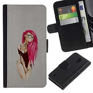"""A-type (Pink Emo Hair"""") Colorida Impresión Funda Cuero Monedero Caja Bolsa Cubierta Caja Piel Card Slots Para Samsung Galaxy S4 IV I9500"""