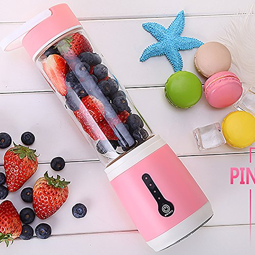Nesee Portable Personal Blender, Household Juicer Fruit Shake Mixer, 480ml Baby Cooking Machine with USB Charger Cable (Pink)