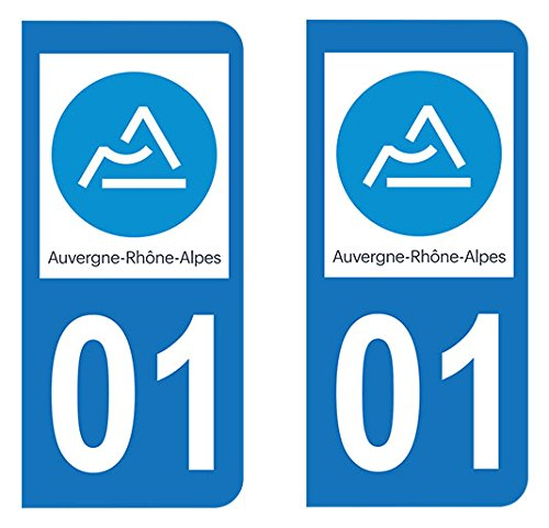 Paire Sticker immatriculation 01 - Nouveau logo Auvergne Rhô ne-Alpes Autocollant-immatriculation