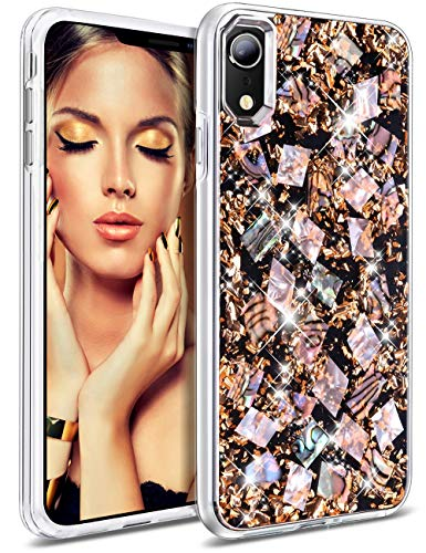 HoneyAKE Case for iPhone XR, Luxury Glitter Bling Sparkle Cute Pretty Handmade Genuine Shell Shock Absorbing Hybrid Protective Phone Cover Case for Girls Women for iPhone XR 6.1 inch(Rose Gold)