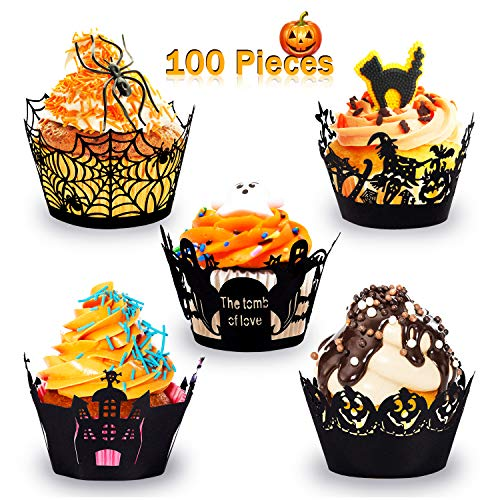 Halloween Cakes Order Online (Whaline 100 Pcs Halloween Cupcake Wrappers, Artistic Bake Paper Cups Black Laser Cut Cupcake Liners Cake Decoration for Halloween Theme)